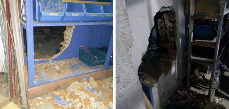 Bandidos abriram vários buracos nas paredes de uma loja vizinha para entrar na agência - Foto: Reprodução | Simões Filho Online