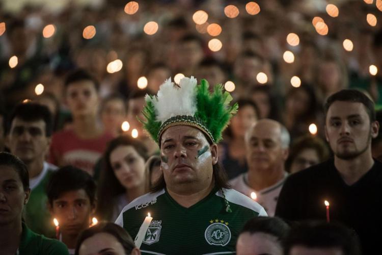 Homenagem lembrou acidente aéreo na Colômbia, que causou a morte de 71 pessoas - Foto: Nelson Almeida | AFP