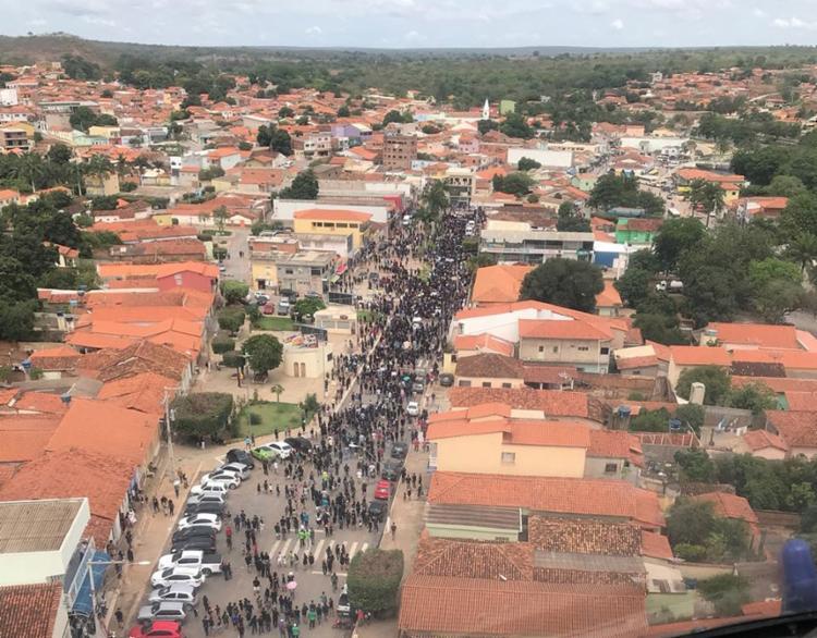 Protesto dos habitantes de Correntina em defesa da preservação dos rios da região - Foto: Divulgação l SSP-BA