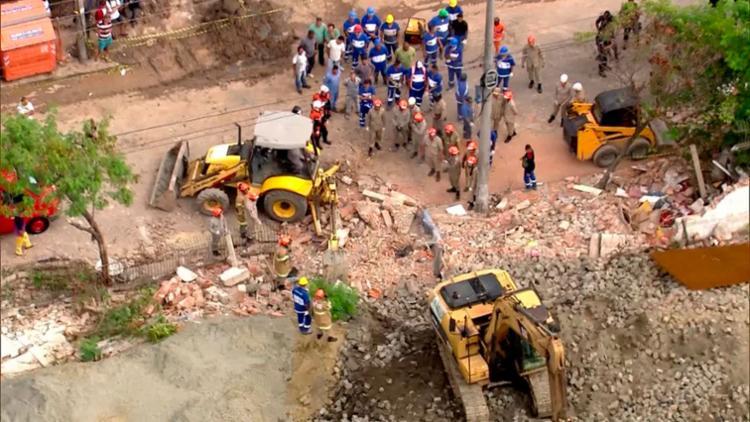 O muro é de um terreno da prefeitura do Rio de Janeiro que está em obras - Foto: TV Globo | Reprodução