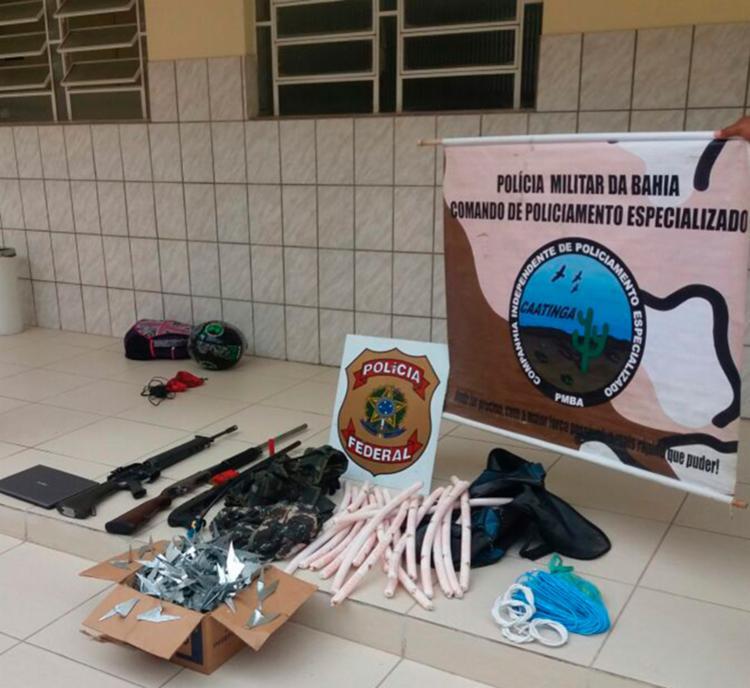 Materiais apreendidos foram encaminhados à delegacia da PF - Foto: Divulgação SSP