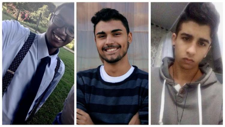 Os estudantes Isaias Teixeira, Juan Carlos e Lucca Cassola (da esq. para dir.) ficaram entre os 50 selecionados - Foto: Divulgação