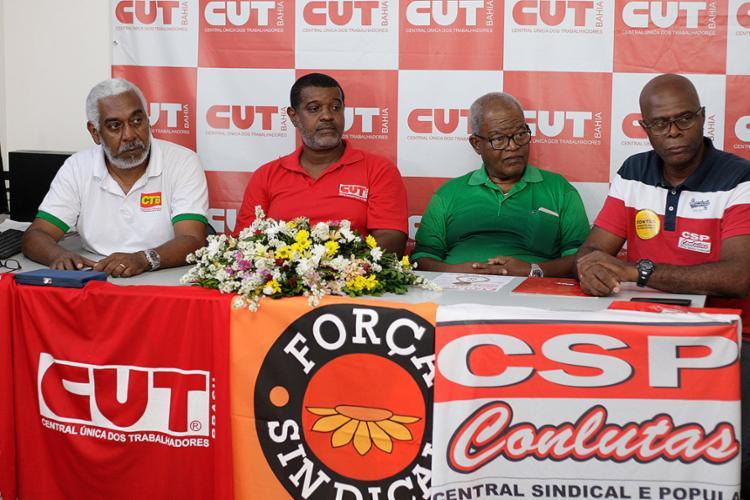 Anúncio das manifestações ocorreu em coletiva na sede da Central Única dos Trabalhadores (CUT), em Nazaré - Foto: Mila Cordeiro l Ag. A TARDE