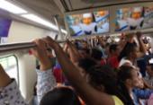 Problema técnico com trem do metrô causa atraso no embarque na Linha 2 | Foto: Dayse Macedo | Cidadão Repórter | Via WhatsApp