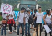 Estudantes do IFBA protestam na BR-101 contra a reforma do Ensino Médio | Foto: Gustavo Moreira | Reprodução | Radar 64
