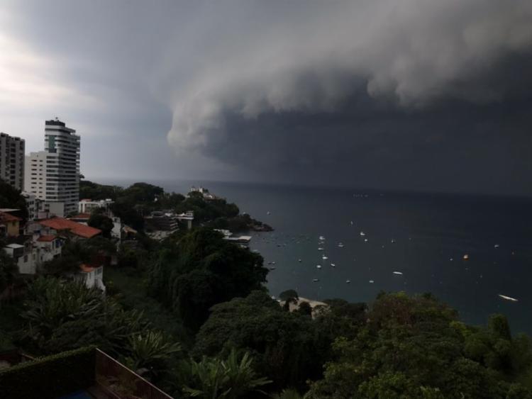 Ciclone subtropical assustou banhistas neste sábado - Foto: Cidadão Repórter   Via WhatsApp