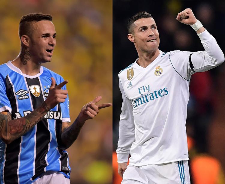 O atacante Luan é a maior esperança dos gremistas na partida; Cristiano Ronaldo é a principal arma ofensiva do Real Madrid - Foto: Rodrigo Buendia e Javier Soriano l AF Photo