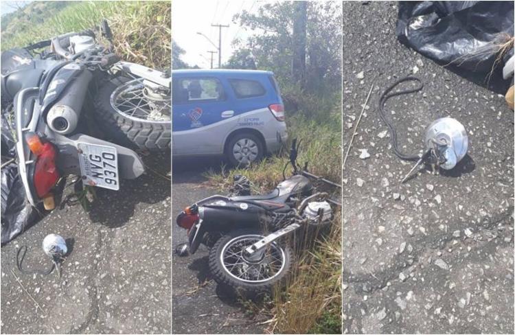 Vítima, que estava dentro de um saco, foi deixada ao lado de uma moto - Foto: Reprodução   TV Aratu