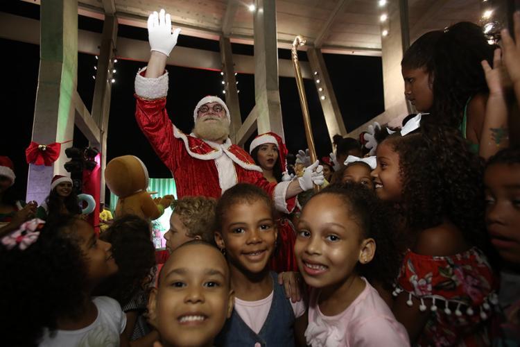Papai Noel fez a festa da criançada em evento na Arena - Foto: Joá Souza l Ag. A TARDE