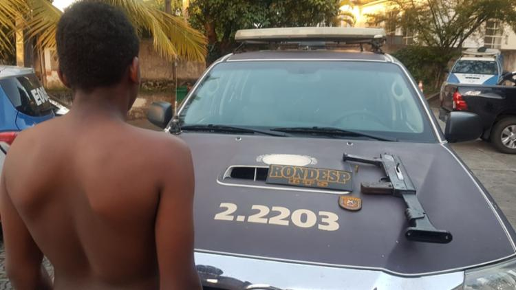 O jovem foi apreendido enquanto tentava fugir - Foto: Divulgação | SSP
