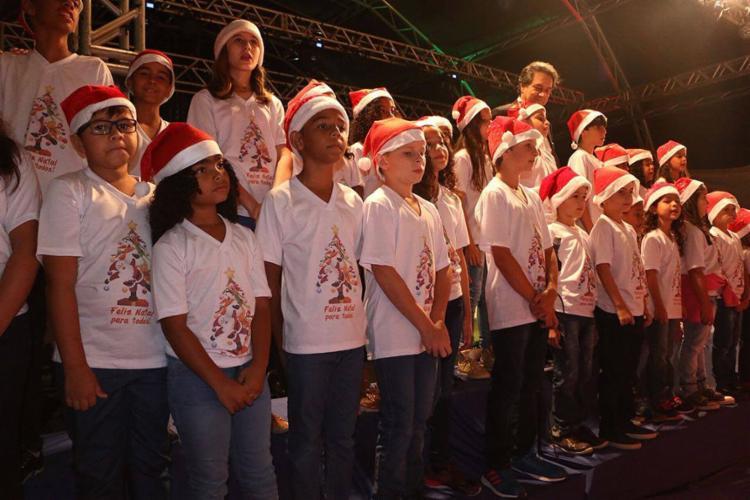 Apresentação do coral das crianças integrou a programação, que também contou com teatro e artes plásticas - Foto: Divulgação l Ascom de LEM