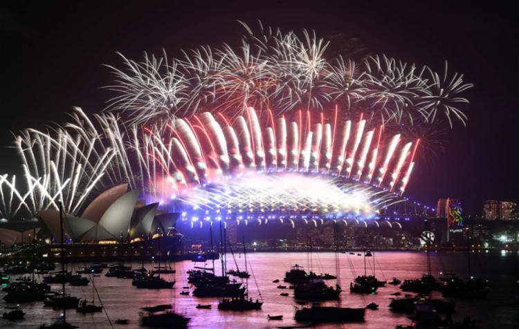 Na Austrália, 2018 começou com fogos de artificio - Foto: AFP
