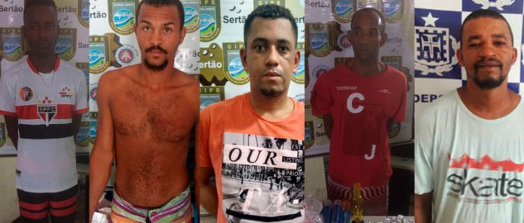 Os cinco são suspeitos de envolvimento com o tráfico de drogas - Foto: Divulgação   SSP