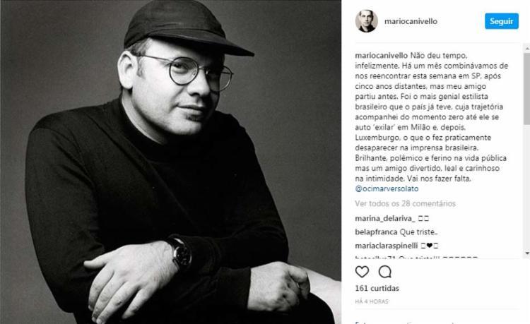 A morte de Versolato foi confirmada por meio de uma postagem no Instagram - Foto: Reprodução | Instagram