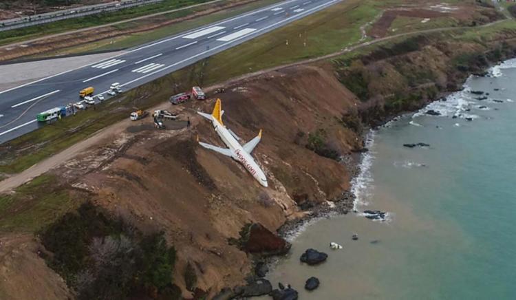 Apesar do acidente, os 162 passageiros e seis tripulantes não ficaram feridos - Foto: AFP