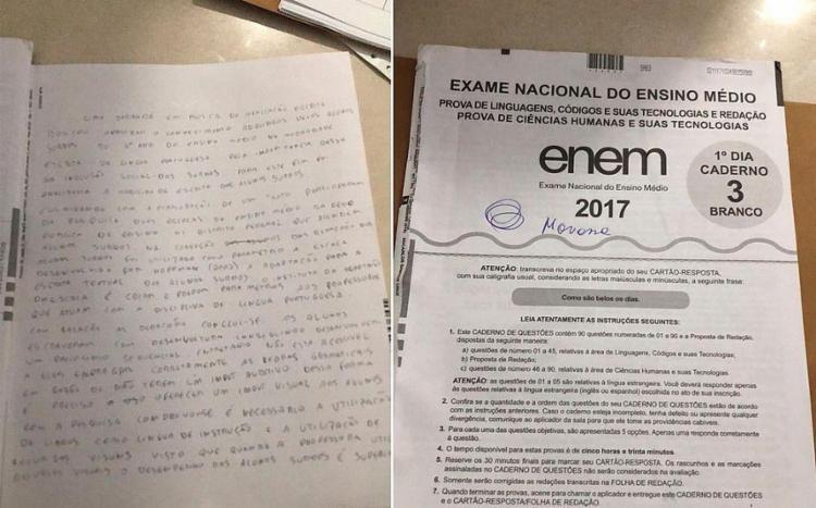 Policiais federais apreenderam o rascunho da redação do candidato suspeito - Foto: Divulgação | PF