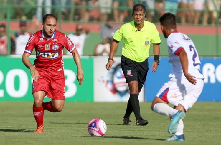 O tricolor controlou até o início da partida, mas não conseguiu assustar os donos da casa - Foto: Felipe Oliveira l EC Bahia
