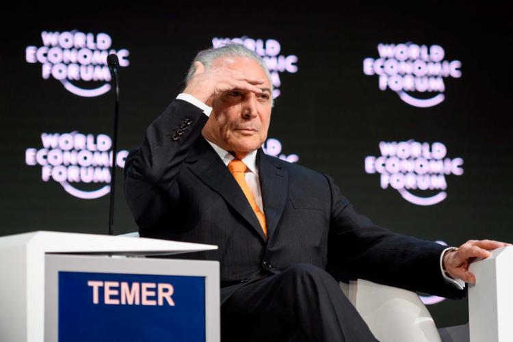Presidente está no Fórum Econômico Mundial, em Davos - Foto: Fabrice Coffrini | AFP