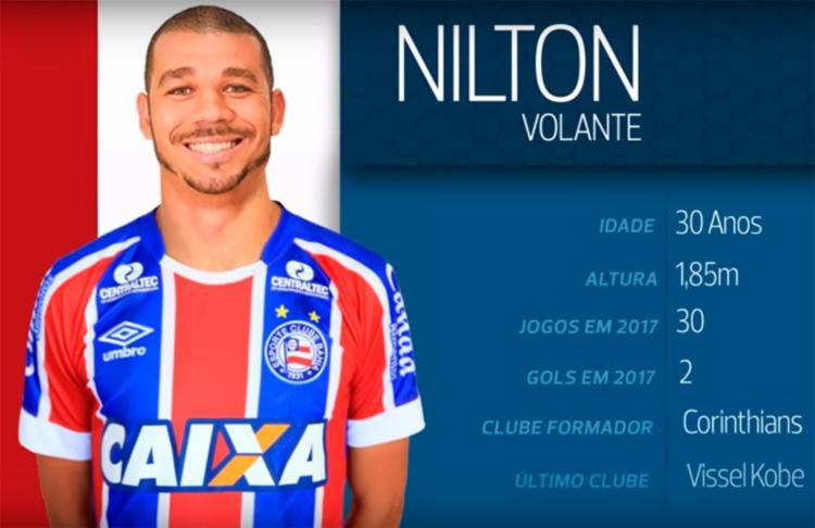 Nilton chega ao Tricolor após passagem pelo futebol japonês - Foto: Reprodução | TV Bahêa