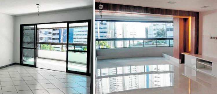 Arquiteto Victor Dauster tirou a varanda para ampliar a sala e trocou porcelanato por revestimento maior - Foto: Victor Dauster | Divulgação