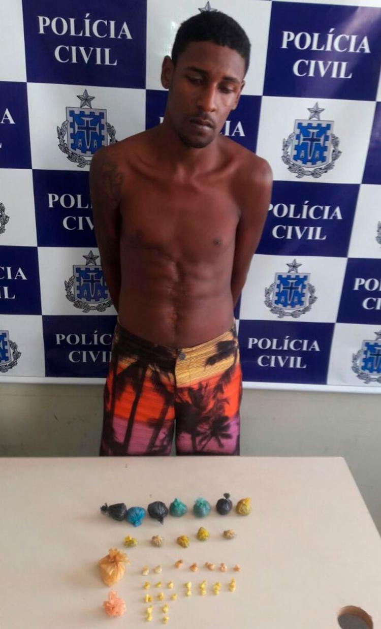 Wenderson foi autuado em flagrante por tráfico de drogas e corrupção de menores - Foto: Divulgação | PC-BA