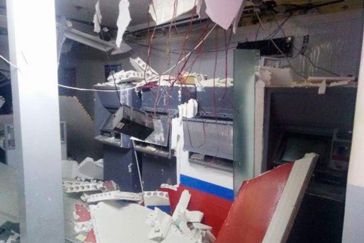 A agência ficou totalmente destruída após o ataque dos criminosos - Foto: Reprodução | Berimbau Noticias