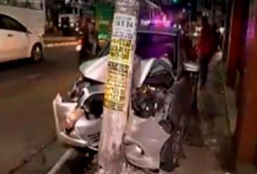 Pedestre é atropelado na Sete Portas por homens em carro roubado | Reprodução | RecordTV