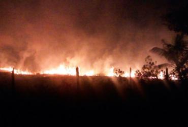 Incêndio atinge área de vegetação na Península de Maraú | Divulgação | PM