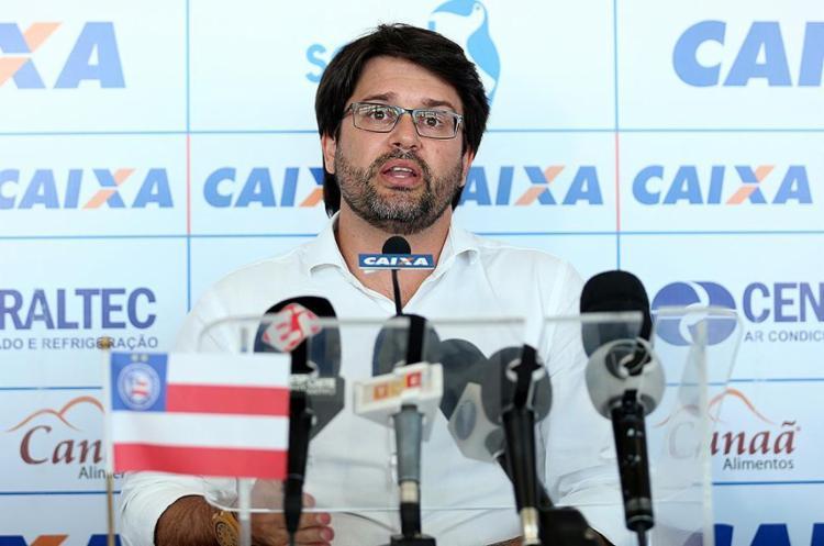 Presidente do Tricolor concedeu entrevista coletiva na qual serenidade e reflexão foram as palavras de ordem - Foto: Felipe Oliveira l EC Bahia