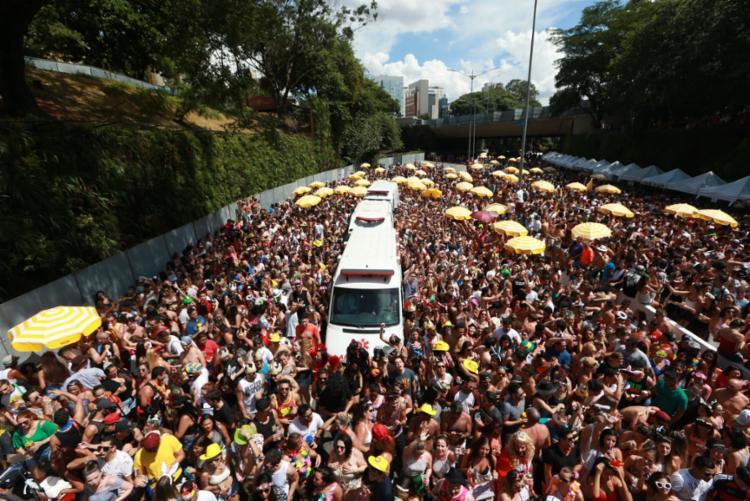 Segundo a Prefeitura ds São Paulo, 1,2 milhão de pessoas curtiram a passagem de três grandes blocos na via - Foto: Tiago Queiroz | Estadão Conteúdo