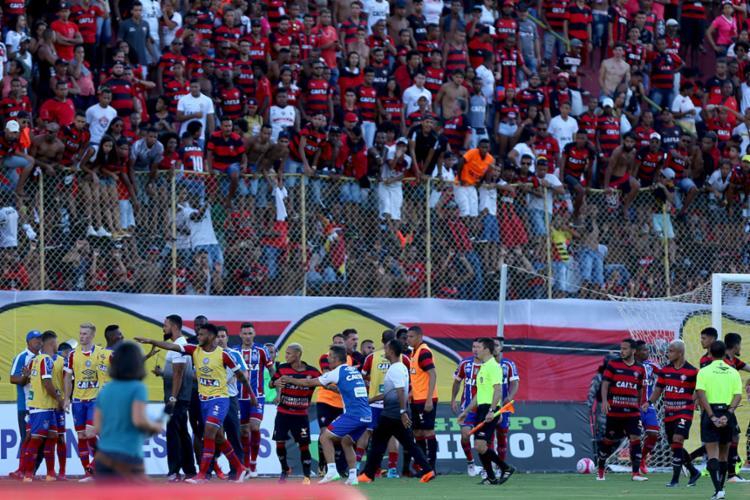Jogadores foram punidos após confusão no clássico - Foto: Felipe Oliveira | EC Bahia