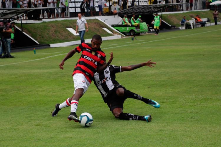 O Vitória sofreu com a pressão exercida pelo time potiguar - Foto: Moysés Suzart | EC Vitória | Divulgação