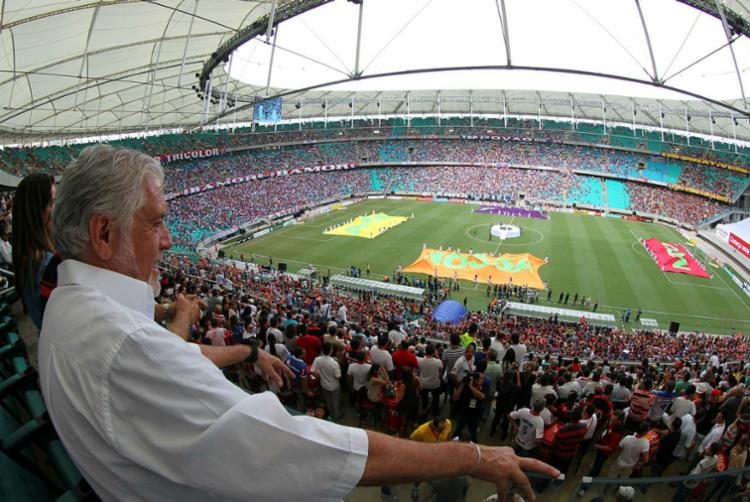 Wagner na inauguração da Arena Fonte Nova, quando o Vitória goleou o Bahia por 5 a 1 - Foto: Manu Dias | GovBA | Divulgação