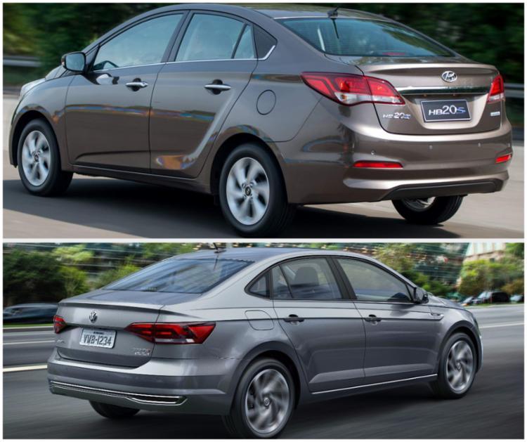 Volkswagen Virtus 200 Tsi e o Hyundai HB20 s 1.6, são opções que se encontram na faixa intermediária dos três volumes - Foto: Divulgação