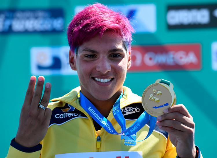 Tricampeã mundial, a baiana Ana Marcela é uma das favoritas ao prêmio - Foto: Attila Kisbenedek   AFP