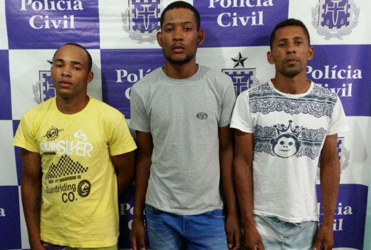 Daniel, Walas e Idalmir estão custodiados na delegacia de Candeias - Foto: Divulgação | SSP