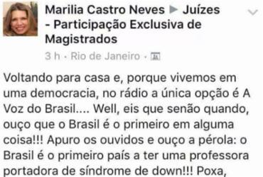 Desembargadora que postou fake news sobre Marielle critica professora com Down | Reprodução | Facebook