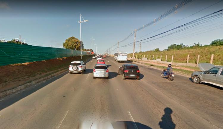 O acidente deixou o fluxo de veículos lento na região - Foto: Reprodução | Google Maps