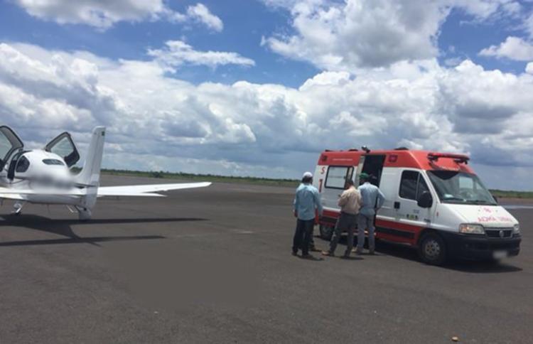 Kleber Juciane foi encaminhado para o aeroporto da cidade, onde foi atendido pelo Samu - Foto: Reprodução | Blog Braga
