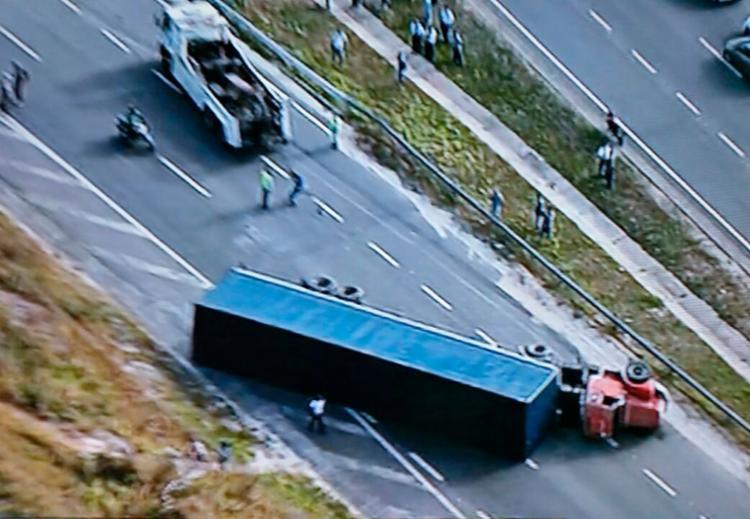 Ninguém ficou ferido durante o acidente - Foto: Reprodução   TV Record