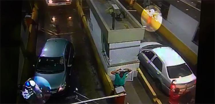 PM foi baleado durante assalto em pedágio na BR-324 - Foto: Divulgação | Concessionária Bahia Norte
