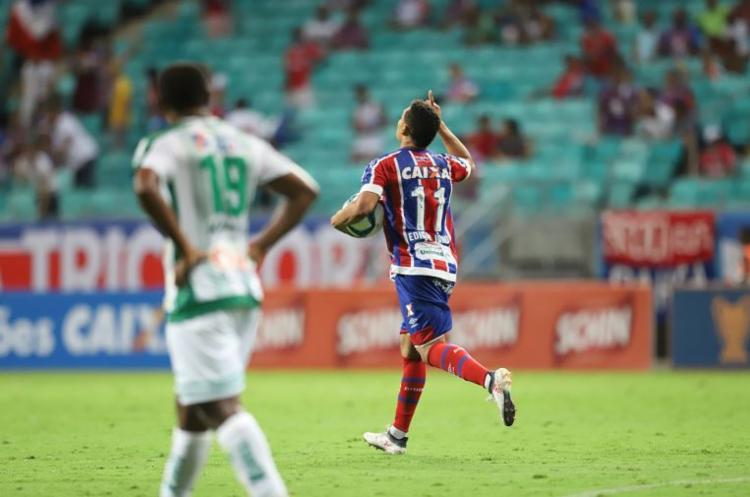 Edigar Junio marcou os dois gols da virada na Fonte Nova - Foto: Adilton Venegeroles l Ag. A TARDE