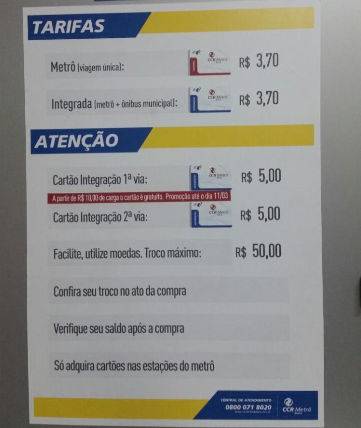 Cartaz na Estação da Lapa do Metrô informa sobre nova cobrança