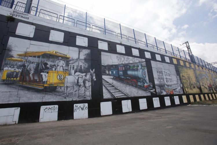 Painel feito por Rildo Foge perto da estação de metrô em Pirajá - Foto: Margarida Neide | Ag. A TARDE
