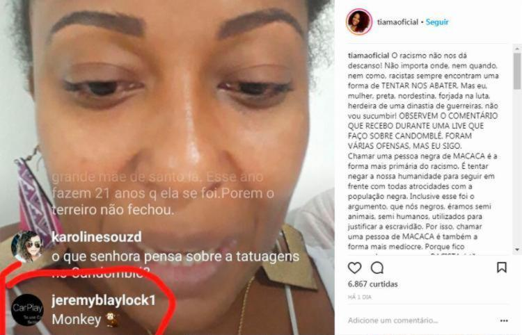 Ofensa à jornalista aconteceu durante transmissão ao vivo pelo Instagram - Foto: Reprodução   Instagram