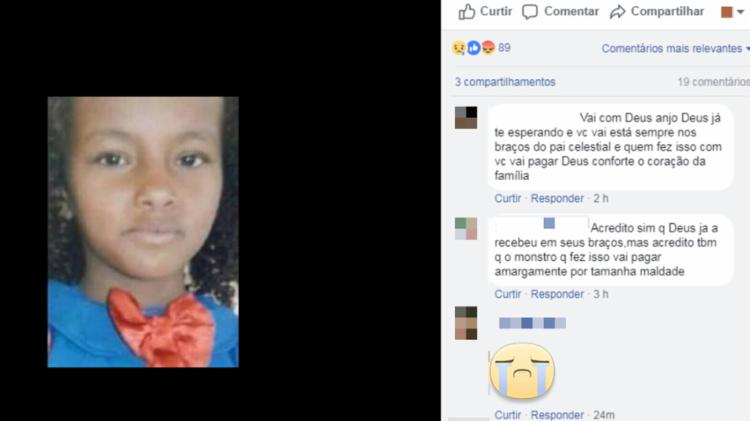 Menina chegou a ser socorrida por populares para o hospital, mas não resistiu aos ferimentos - Foto: Reprodução | Facebook