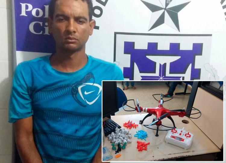 Foram apreendidos 39 pinos de cocaína, 32 trouxas de maconha e um drone - Foto: Divulgação | SSP