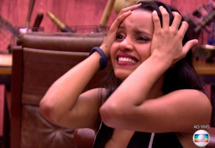 Reação de Gleice ao saber que ficou na casa foi um dos assuntos mais comentados no Twitter - Foto: Reprodução | TV Globo