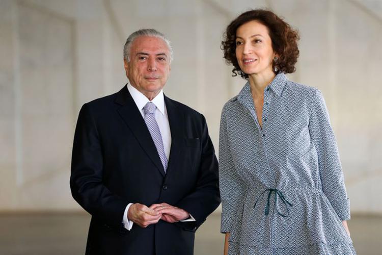 O presidente Temer recebeu a diretora-geral da Unesco, Audrey Azoulay, na abertura oficial do 8º Fórum Mundial da Água - Foto: Marcelo Camargo l Agência Brasil