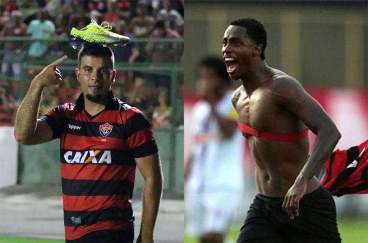 André Lima é artilheiro do time na temporada; Denilson também fez seis gols, mas um não valeu - Foto: Maurícia da Matta l EC Vitória e Raul Spinassé l Ag. A TARDE